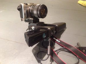 3d printed parts for volumetric camera mount with Canon EOS-M mirrorless camera for RGB image collection